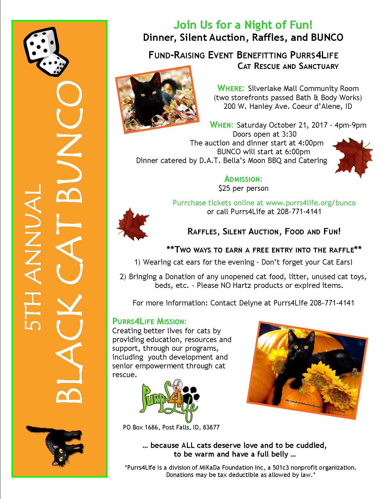 4th Annual Black Cat Bunco flier